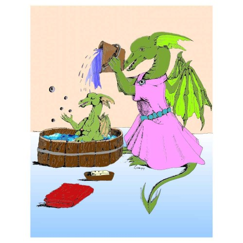 Dragons Bathtime painting artwork