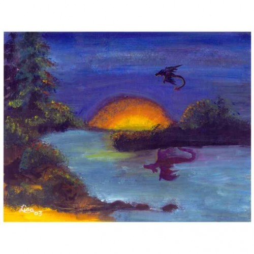 Dragon sunset painting artwork