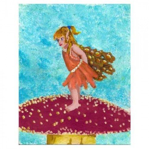 Fairy child on toadstool painting artwork