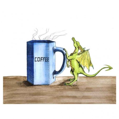Morning Coffee Dragon painting artwork