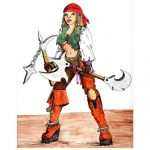 Pirate woman painting artwork