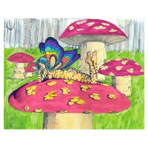 Fairy on a toadstool painting artwork