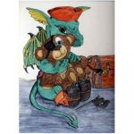 Pirate Dragon & Teddy Bear tshirt painting artwork